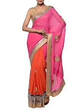 Glamorous Pink And Red Georgette Saree - Tanisi