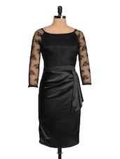 Black Net Sleeved Satin Dress - Magnetic Designs