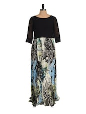 Black Pleated Long Dress With A Multi-coloured Base - Magnetic Designs