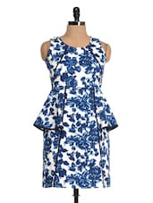 Blue And White Printed Peplum Dress - Magnetic Designs