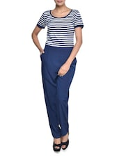 Navy Blue Striped Jumpsuit - Magnetic Designs