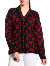 Red And Black Woolen Cardigan - TAB91