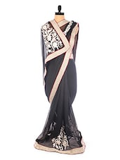 Elegant Black Embroidered Saree - DLINES