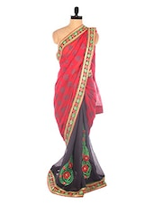 Red And Grey Embroidered Saree With Butta And Borders - DLINES