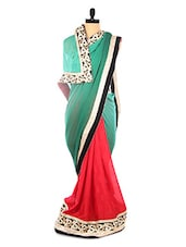 Green And Red Heavy Bordered Saree - DLINES