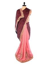 Maroon And Pink Embroidered Saree - DLINES