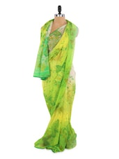 Lovely Green And Yellow Saree With Blouse Piece - ROOP KASHISH
