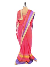 Stunning Pink Shaded Saree With Blouse Piece - ROOP KASHISH