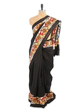 Lovely Black Floral Printed Saree With Blouse Piece - ROOP KASHISH