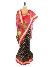 Lovely Black And Pink Saree With Blouse Piece - ROOP KASHISH