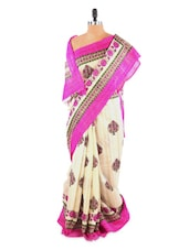 Lovely White And Pink Floral Printed Saree With Blouse Piece - ROOP KASHISH