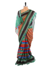 Gorgeous Green And Beige Saree With Blouse Piece - ROOP KASHISH