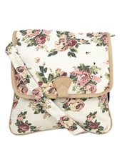 White Floral Print Cross Body Bag - Crafts My Dream