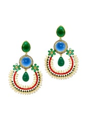 Dangler Earrings  Encrusted With Stones And Pearls - Daamak