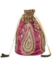Gorgeous Pink And Gold Paisley Patterned Potli Bag - Hastakrta