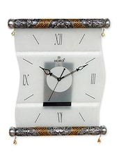 White MDF Glass Frame  Wall Clock - By