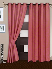 Pink Polyester Eyelet Curtain Set Of Two - Story @ Home