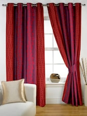 Maroon Color Block Printed Eyelet Curtain Set Of Two - Story @ Home