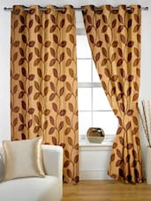 Leaf Printed Eyelet Curtain Set Of Two - Story @ Home