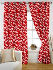 Leaf Printed Red Eyelet Curtain Set Of Two - Story @ Home