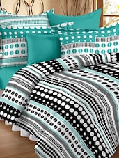Polka Dotted Color Block Double Bedsheet With Pillow Cover - Story @ Home