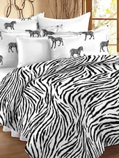 Zebra Printed Double Bedsheet With Pillow Cover - Story @ Home