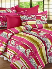 Striped Romantic Double Bedsheet With Pillow Cover - Story @ Home