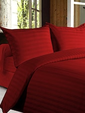 Red Satin Stripes King Size Double Bed Sheet - Story @ Home