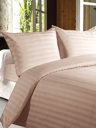 Story @ Home 100% Cotton Light Brown Satin Stripes King Size Double Bedsheet