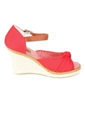 Red And Brown Peep Toe Wedges - LOZENGE
