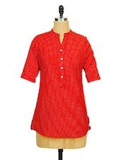 Red Polka Dots Printed Tunic - Ayaany