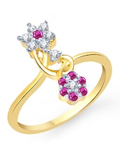Gold And Pink Embellished Ring - VK Jewels