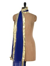Royal Blue Net Dupatta With Gold Border - Etoles
