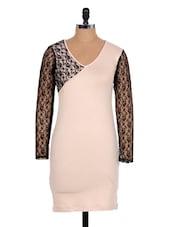 Elegant Cream Dress With Black Lacy Sleeves - Xniva