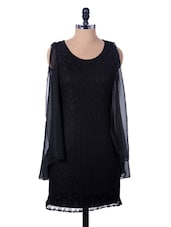 Black Lacy Dress With Ruffled Sides - Xniva