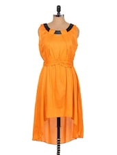 Orange Asymmetrical Sleeveless Dress - Xniva