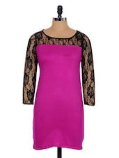 Bright Pink Dress With Black Lacy Sleeves - Xniva