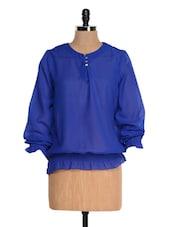 Blue Sheer Long Sleeve Smocked Top - Tapyti