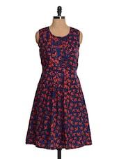 Bird Print Pleated Navy Dress - Tapyti