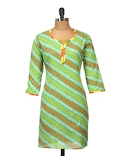 Green Striped Cotton Kurti - Jaipurkurti.com