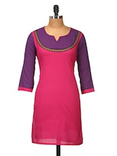 Pink And Purple Cotton Kurti - Jaipurkurti.com