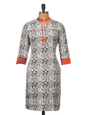 Black And White Cotton Kurti - Jaipurkurti.com