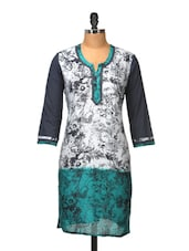 Grey And Turquoise Cotton Kurti - Jaipurkurti.com
