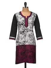 Grey And Purple Cotton Kurti - Jaipurkurti.com