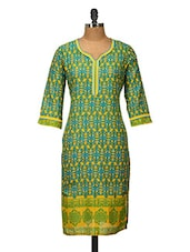 Yellow And Green Printed Cotton Kurti - Jaipurkurti.com