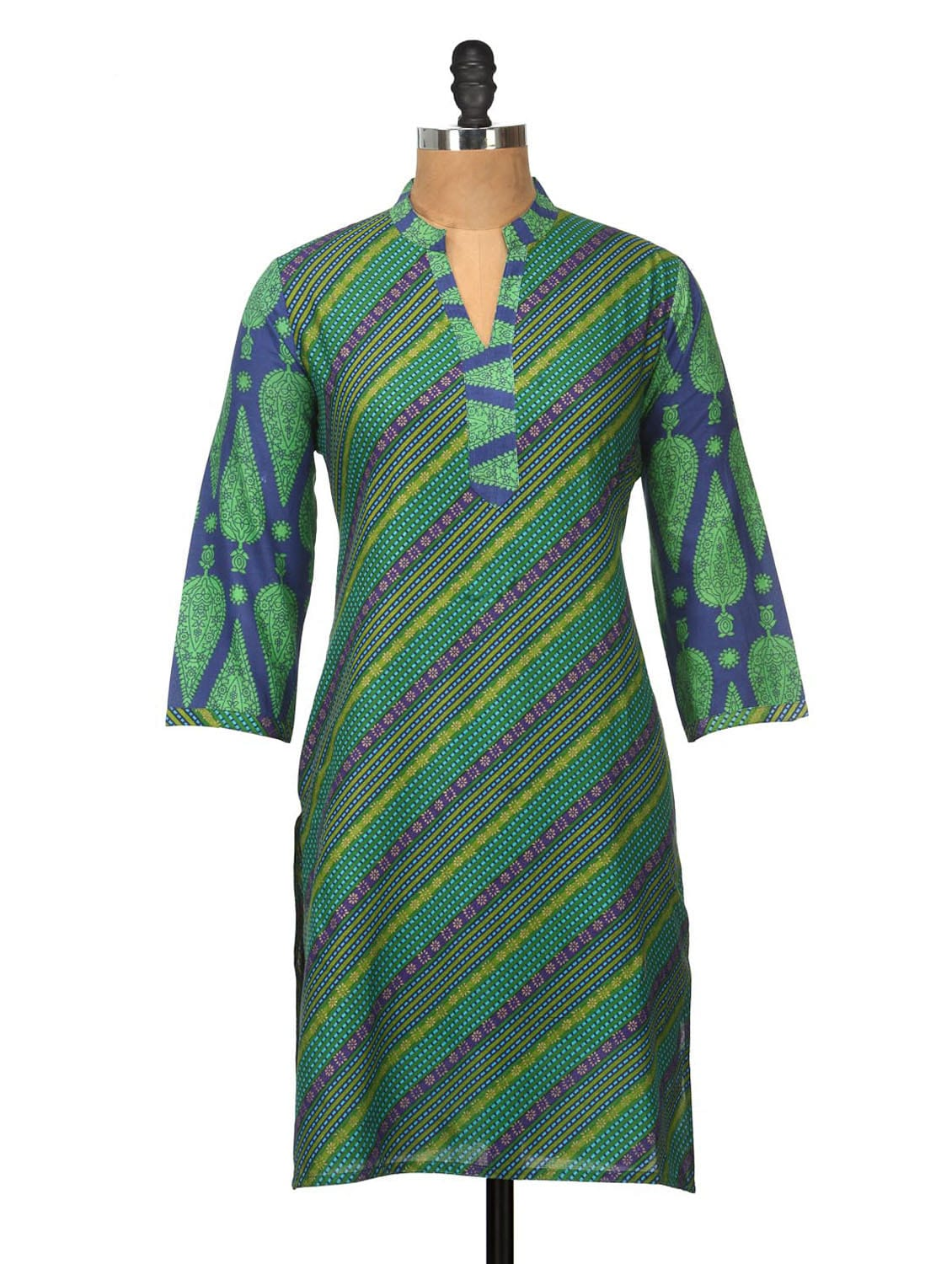 Blue And Green Striped Kurti - Jaipurkurti.com