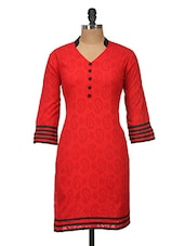 Red And Black Jacquard Kurti - Jaipurkurti.com