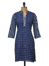 Navy Blue And White Printed Cotton Kurti - Jaipurkurti.com