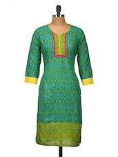 Green And Yellow Printed Cotton Kurti - Jaipurkurti.com