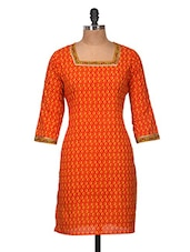 Orange And Gold Cotton Kurti - Jaipurkurti.com